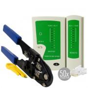 KIT Alicate de Crimpar 210c + Testador de Cabos RJ45 + 50x Conectores RJ45