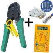 KIT Alicate p/ Crimpagem RJ45 e RJ11 + 100x Conectores RJ45 + Multímetro DT-830B