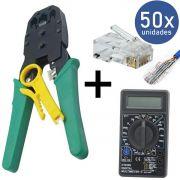 KIT Alicate p/ Crimpagem RJ45 e RJ11 + 50x Conectores RJ45 + Multímetro XT-573