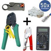 KIT Alicate p/ Crimpagem RJ45 e RJ11  + Alicate p/ Crimpar Coaxial + Alicate Decapador Cabo Coaxial + 50x Conectores RJ45+ Multímetro DT-830B