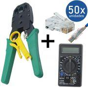 KIT Alicate p/ Crimpagem RJ45 e RJ11 + Multímetro DT-830B Preto + 50x Conectores RJ45