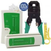 KIT Alicate p/ Crimpagem RJ45 e RJ11 + Testador de Cabos RJ45 + 100x Conectores RJ45