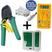 KIT Alicate p/ Crimpagem RJ45 e RJ11 + Testador de Cabos RJ45 + 100x Conectores RJ45 + Multímetro DT-830B