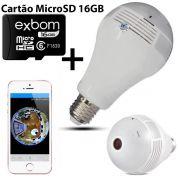 KIT Câmera IP Wi-fi Panorâmica 360 Graus Lâmpada Led com Visão Noturna V9 + Cartão Micro SD 16GB
