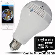 KIT Câmera IP Wi-fi Panorâmica 360 Graus Lâmpada Led com Visão Noturna V9 + Cartão Micro SD 32GB