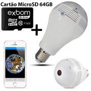KIT Câmera IP Wi-fi Panorâmica 360 Graus Lâmpada Led com Visão Noturna V9 + Cartão Micro SD 64GB