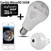 KIT Câmera IP Wi-fi Panorâmica Lâmpada VR-LP360 + Cartão Micro SD 32GB