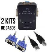 KIT Chaveador Switch KVM 2 Portas USB KVM21UA + 2 Cabos USB AB 2m + 2 Cabos VGA 1,8m