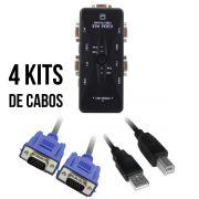 KIT Chaveador Switch KVM 4 Portas USB KVM41UA + 4 Cabos USB AB 1,5m + 4 Cabos Vga 1,8m