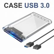 Kit 3 Cases USB 3.0 Transparente para HD Sata de 2,5