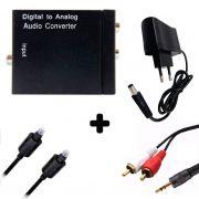 Kit Conversor Áudio Digital p/ RCA + Cabo Óptico Toslink 1,5 mts + Cabo Áudio Rca x P2
