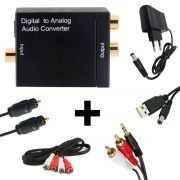 Kit Conversor Áudio Digital p/ RCA + Cabo Óptico Toslink 1,5 mts + Cabo Áudio Rca x Rca e Rca x P2
