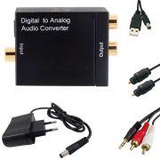 KIT Conversor Áudio Digital para RCA + Cabo Óptico Toslink 2 mts + Cabo Áudio Rca x P2