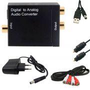KIT Conversor Áudio Digital para RCA + Cabo Óptico Toslink 2 mts + Cabo Áudio Rca x Rca