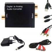 KIT Conversor Áudio Digital para RCA + Cabo Óptico Toslink 2 mts + Cabo Áudio Rca x Rca e Rca x P2