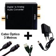 KIT Conversor Áudio Digital para RCA + Cabo Óptico Toslink 3 metros