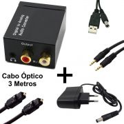 KIT Conversor Áudio Digital para RCA e P2 XT-5529 + Cabo Óptico Toslink 3 mts + Cabo Áudio P2 x P2 + Cabo DC 5V