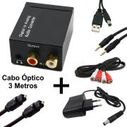 KIT Conversor Áudio Digital para RCA e P2 XT-5529 + Cabo Óptico Toslink 3 mts + Cabo Áudio RCA x RCA + Cabo Áudio P2 x P2 + Cabo DC 5V