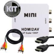 KIT Conversor Hdmi para AV Rca HDMI2AV + Cabo HDMI + Cabo AV RCA