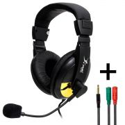 KIT Headset com Microfone Knup KP-320 + Adaptador P3 x P2