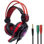 KIT Headset Gamer com Microfone e LEDs Coloridos Infokit GH-X30 com Adaptador P3 x P2
