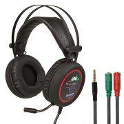 KIT Headset Gamer com Microfone e LEDs Knup KP-401  com Adaptador P3 x P2