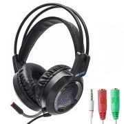 KIT Headset Gamer com Microfone e LEDs Knup KP-430 com Adaptador P3 x P2