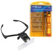 KIT Lupa de Cabeça Óculos 5 Lentes e LED + Jogo de Chaves 32 Peças Precisão e Extensor