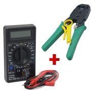 Kit Multímetro Digital Preto + Alicate de Crimpagem RJ45 e RJ11