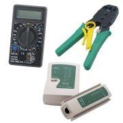 Kit Multímetro Digital Preto + Testador de Cabo RJ45 e Rj11 + Alicate de Crimpagem RJ45 e RJ11