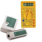 Kit Multímetro Digital com Aviso Sonoro XT-573 + Testador de Cabo RJ45 e RJ11
