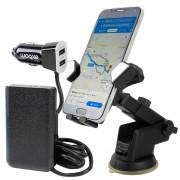 KIT Suporte de Celular Veicular de Painel e Parabrisa com Ventosa JB-720 + Carregador Veicular com Extensor e 4 USB Exbom