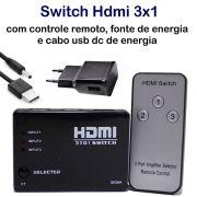 KIT Switch HDMI 3 Entradas e 1 Saída com Controle Remoto e Fonte de Energia