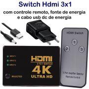 KIT Switch HDMI 4k 3x1 Knup com Controle e Fonte de Energia