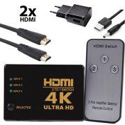 KIT Switch HDMI 4k 3x1 Knup KP-3465 com Controle e Fonte de Energia + 2 Cabos hdmi de 1 Metro CBX-H10SM