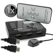 KIT Switch HDMI 5 Entradas x 1 Saida com Controle Remoto e Extensor + 1 Cabo hdmi de 1 Metro