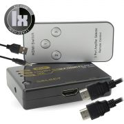 Switch HDMI 4k 3x1 com Controle Knup KP-3465 + Cabo Usb DC + 1 Cabo hdmi de 1,5 Metro