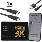 Switch HDMI 4k 3x1 com Controle Knup KP-3465 + Cabo Usb DC + 1 Cabo hdmi de 1 Metro CBX-H10SM