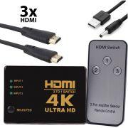 Switch HDMI 4k 3x1 com Controle Knup KP-3465 + Cabo Usb DC + 3 Cabos hdmi de 1 Metro CBX-H10SM