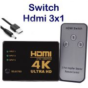 Switch HDMI 4k 3x1 com Controle Knup KP-3465 + Cabo Usb DC