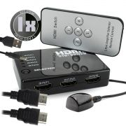 Switch HDMI 5 Entradas x 1 Saida com Controle Remoto e Extensor + Cabo USB DC + 1 Cabo hdmi de 1 Metro CBX-H10SM