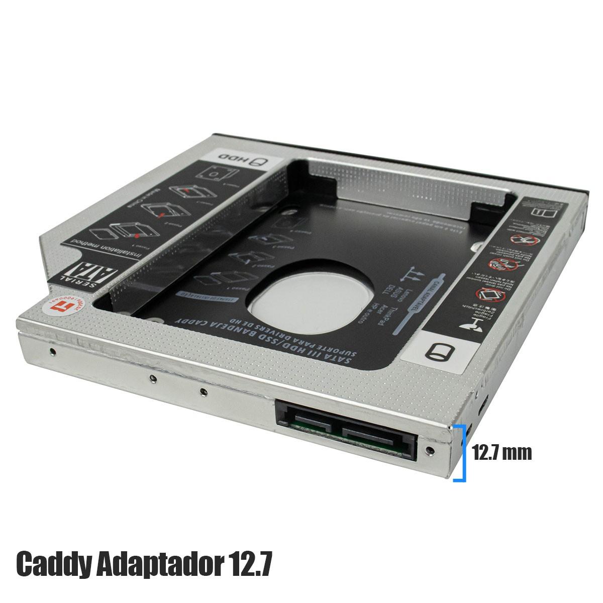 """Adaptador Caddy de 12,7 mm para HD Sata 2,5"""" ou SSD Exbom HDCA-S127"""