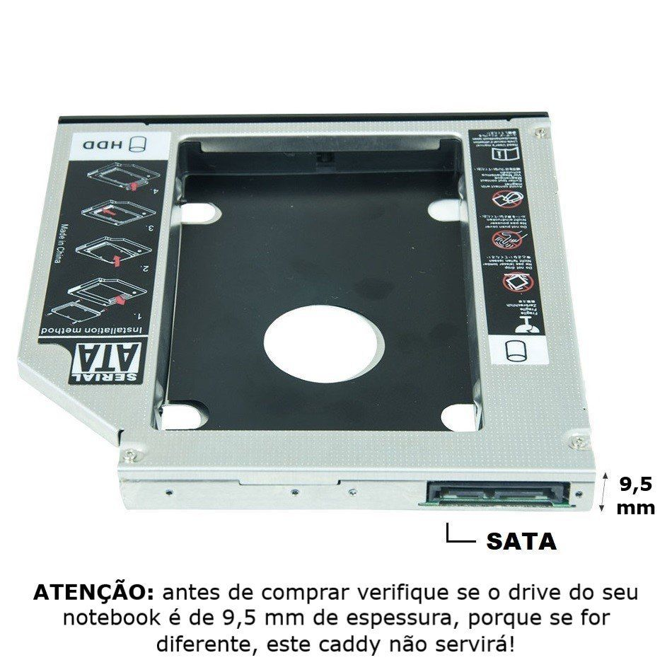 "Adaptador Caddy de 9,5 mm para HD Sata 2,5"" ou SSD Exbom HDCA-S095"