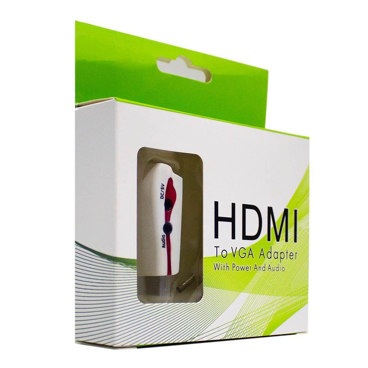 Adaptador Conversor HDMI para VGA com Saída de Áudio P2