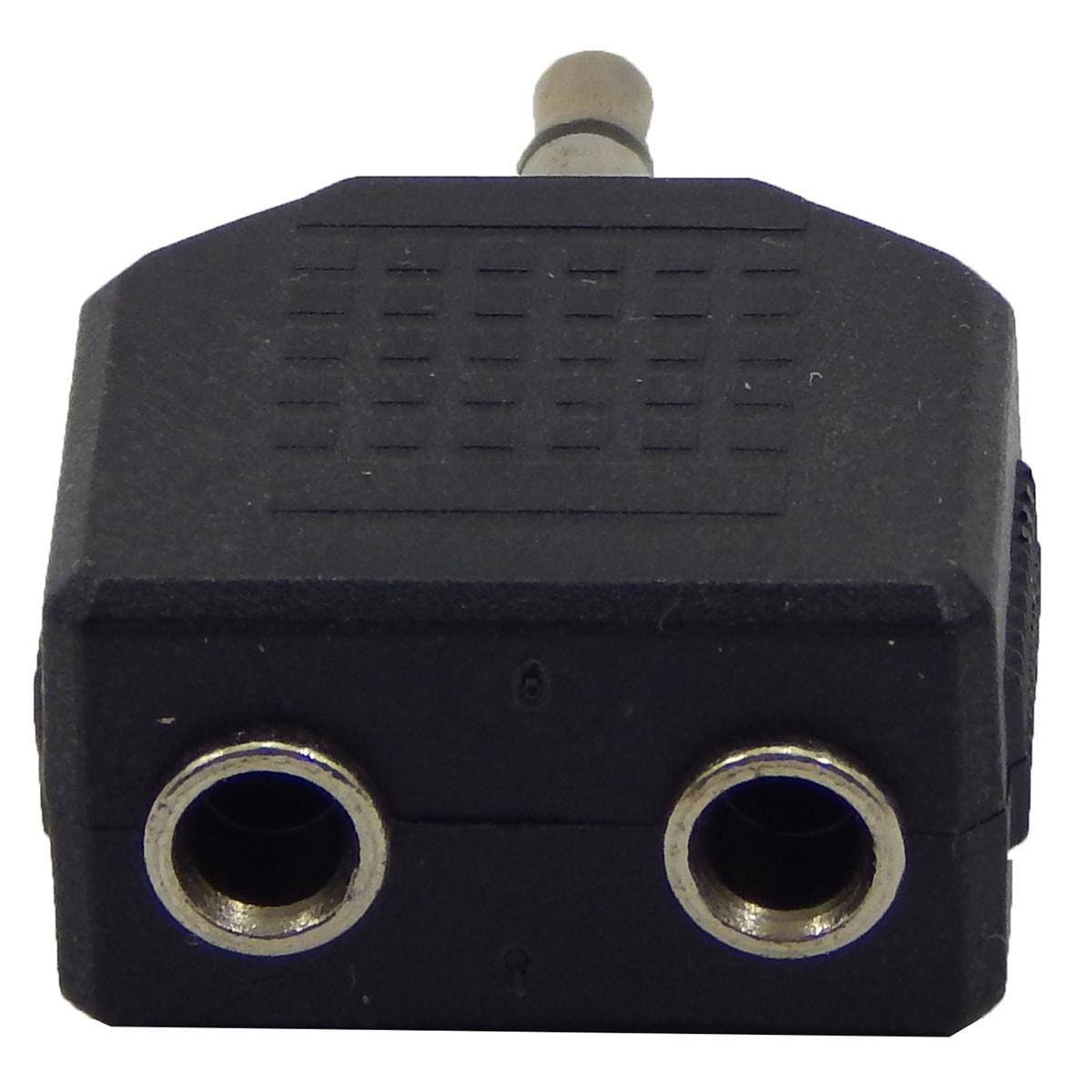 Adaptador de Audio P2 3.5m Macho p/ 2 x P2 3.5m Femea