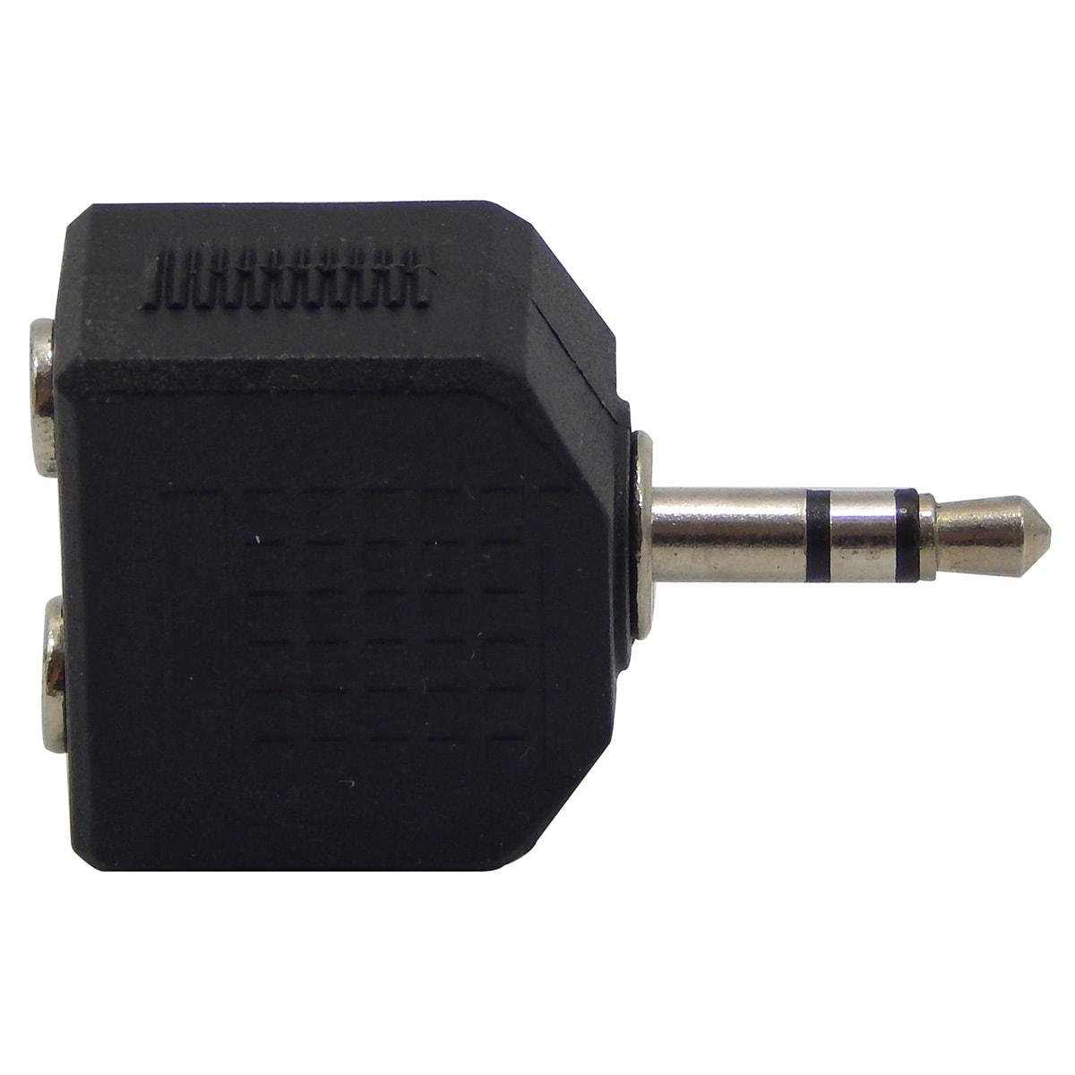 Adaptador de Áudio P2 3,5mm Macho p/ 2 x P2 3,5mm Fêmea