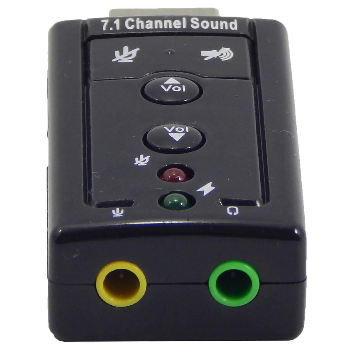 Adaptador de Som USB 7.1 Canais 2 Portas Exbom USOM-10