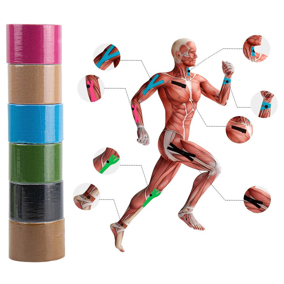 Bandagem Elástica Adesiva Fita Kinesio Funcional Neuromuscular Fitband MBFit MB87098