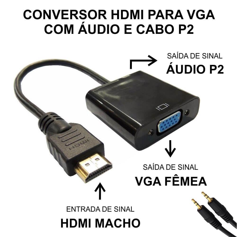 Cabo Conversor HDMI Macho para VGA Fêmea com Áudio