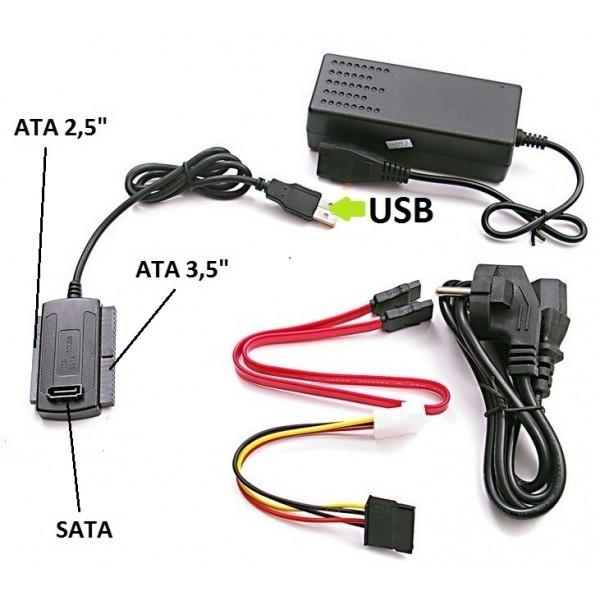 Cabo Conversor USB 2.0 para Sata e Ide com Fonte de Energia Bivolt